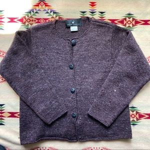 Peruvian connection brown wool cardigan buttons M